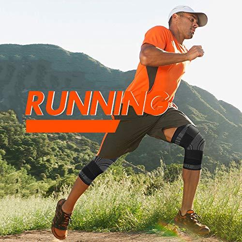 膝サポーターSuxman加圧式ベルト男女左右兼用通気性登山ランニングアウトドア運動スポーツサポーター【1&2枚組、2色選べる】(ブラック(1枚),M)