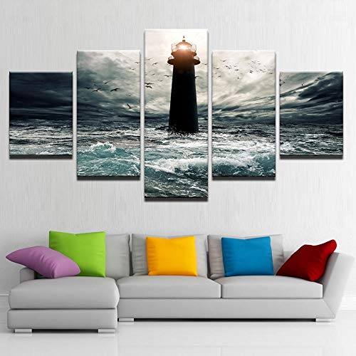 HTBYTXZ HD Lienzo de Arte Mural Faro en Medio de la decoración de la Ola del mar Imprimir imágenes modulares Sala de Estar decoración del hogar 5 Piezas tamaño 3 sin Marco