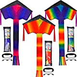 JOYIN 3 Packs Delta Rainbow Kite Warm and Cold Color Easy to Fly Huge Kites for Kids and Adults with 262.5 ft Kite String, Large Delta Beach Kite for Outdoor Games and Activities