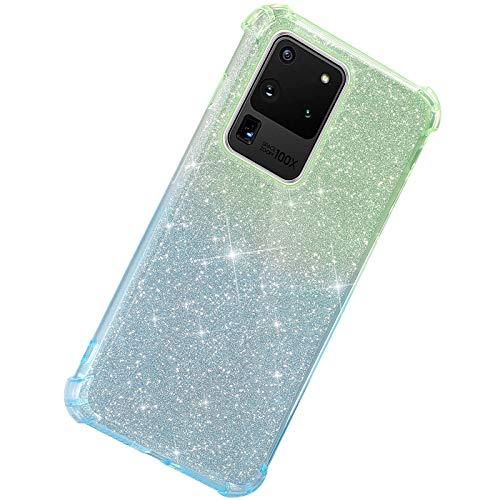 Herbests Kompatibel mit Samsung Galaxy S20 Ultra Hülle Durchsichtig Farbverlauf Glänzend Kristall Glitzer Transparent TPU Silikon Handyhülle Ultradünn Stoßfest Bumper Case Schutzhülle,Grün Blau
