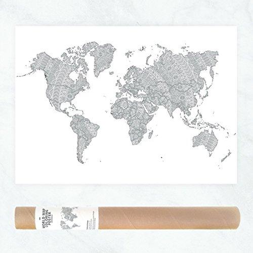 Detaillierte Mandala Weltkarte oder Reisekarte Poster zum Ausmalen für Erwachsene