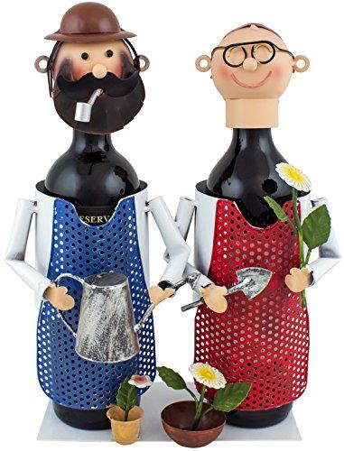 BRUBAKER Weinflaschenhalter Gärtner Paar Flaschenständer Metall Deko-Objekt Figuren mit Grußkarte für Weingeschenk