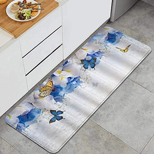 VAMIX Tappeto da Cucina,Farfalla Fantasia Decorazione Blu Fiore Bianco Farfalla Gialla,antiscivolo passatoia da cucina antiscivolo zerbino tappetino per il bagno