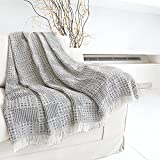 Heather Touch Fall Throw Waffle Blanket Cotton Blend 50x60 Farmhouse Decorative Textured Blanket with Tassels/Fringe for Chair Bed Couch Cozy Lightweight Rustic Blanket(Grey/Gray,1.3lbs)