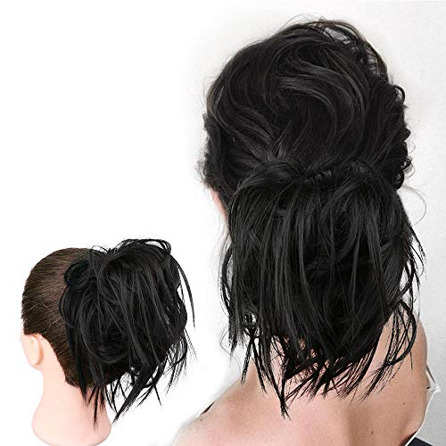 HMD Messy Bun Hair Piece Hair With Elastic Rubber Band Extensions Hairpiece Synthetic Hair Extensions Scrunchies Hairpiece for Women (Tousled Updo Bun, Natural Black)