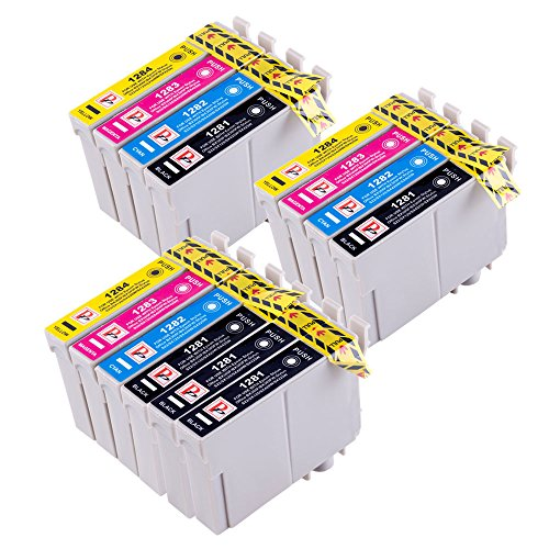 14 Cartouches d'encre Epson compatible T1285 pour Epson Stylus S22 SX125 SX130 SX420W SX425W SX445W BX305F BX305FW SX230 SX235W SX445W SX435W SX430W SX438W SX440W imprimante. 5x T1281 Noir, 3x T1282 Cyan, 3x T1283 Magenta, 3x T1284 jaune