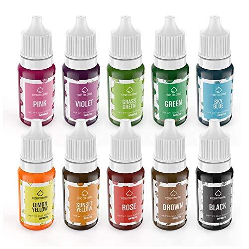 Colorante Alimentare liquido, Wayin 10ML Coloranti alimentari Concentrati per Cuocere Decorare Glassare e Cucinare (10pcs)