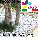 Decomadeinitaly CIOTTOLO Bianco Carrara in (Sacco 25 kg) Diametro 15/25 mm, Pietra Bianca per Giardino