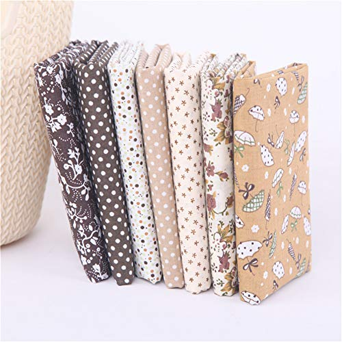 Deike Mild - Juego de 7 telas de algodón por metros, para manualidades, costura, patchwork, color marrón, 50 x 50 cm