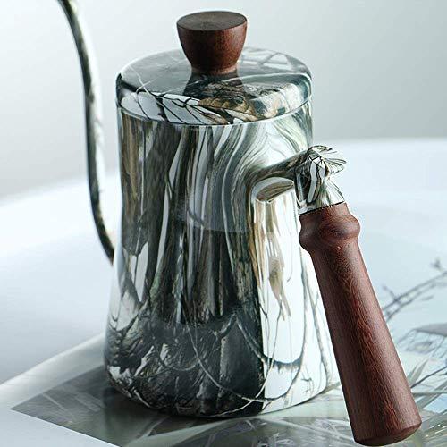 Djy-jy Bouilloire Bouilloire café goutte à goutte HANDPUNCH 90 Diplômes verticaux avec sécurité anti-brûlure manche en bois crème et lait cruches (Couleur: Argent, Taille: 9.5x14.5cm)