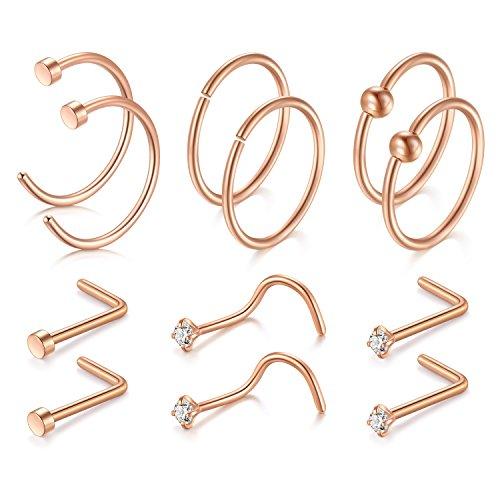 JFORYOU 12Pcs Rose Gold Nose Ring Nose studs Set 20G 316L Surgical Steel Nose Ring Nose Stud Nose Hoop
