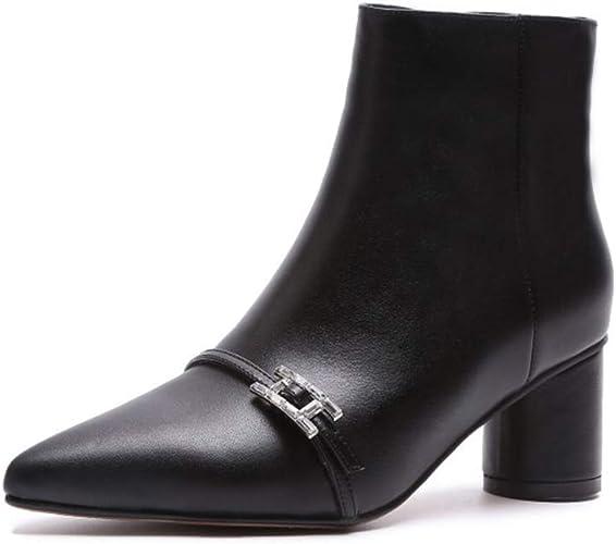 Yanyan Bottes pour Femmes Bottes en Cuir à Talons Hauts à la Mode Chaussures à Talons compensés à la Mode de tempéraHommest pour Femme