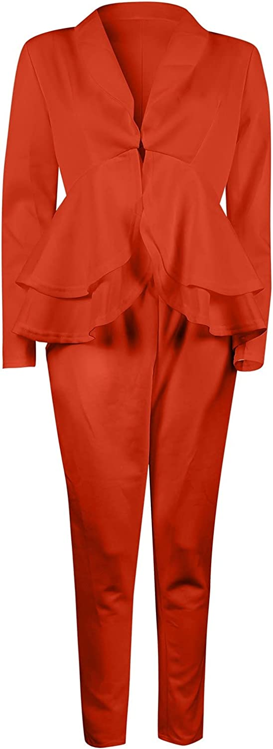 Women Ruffle Blazer Top with Pencil Pant Sexy Solid V-Neck 2 Piece Outfits Long Sleeve Elegantes Business Suit Sets