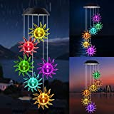 JOBOSI Sun Wind Chimes, Solar Wind Chimes, Wind Chime Outdoor Outside Garden Yard Decor, Gifts for Grandma mom Family, Garden Gifts