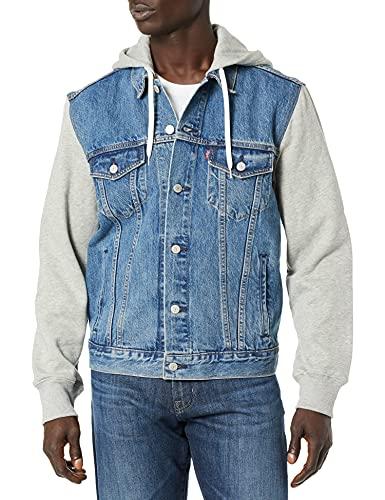 Levi's Men's Trucker Jacket Outerwear, -Hybrid Hoodie/indigo, L