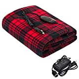 Sojoy Electric Blanket, Heated Throw 40'x60', 3 Fast Heating Levels UL Certification,30'/45'/60' Min Auto-Off, Fleece Machine Unwashable Blanket Home Office Use(Black and Burgundy)