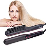 Pro Hair Straightener & Curler 2-in-1,Hair Treatment Styling Tools with LCD Display & Adjustable Temp,Straightening Heat Brush Comb Ionic for All Hair Types Anti Frizz,Auto Off (Upgraded)