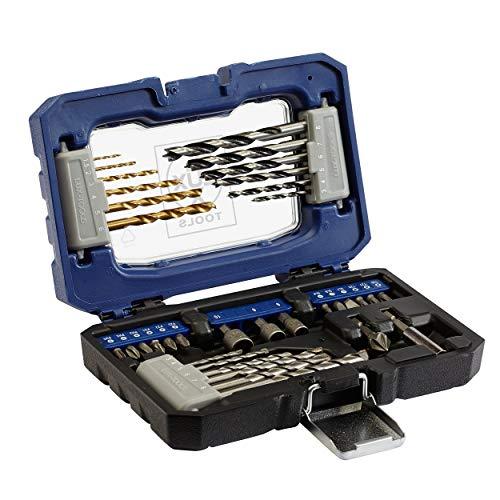LUX-TOOLS Bit- & Bohrer-Set, 36-teilig | Spiralbohrer- & Bit-Satz in Aufbewahrungs-Box mit Bohrern für Holz, Metall & Stein inkl. Bithalter, Senker und 3 Stecknüssen