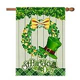 Hexagram Happy St Patrick's Day Flag 28x40inch Double Side Home Decor, Rustic Spring Burlap flags Decorative Shamrock Hat Gold Coin, Buffalo Plaid Lucky Clover Wreath House Flag Yard Outdoor Decor