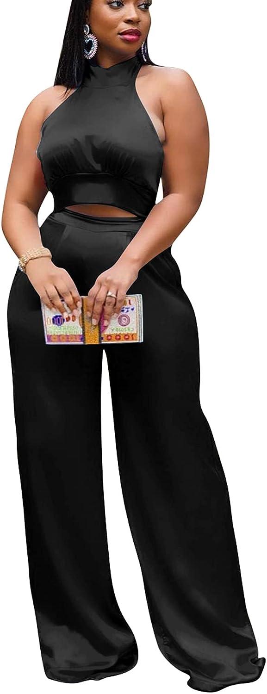 bluewolfsea Women Sexy 2 Piece Outfits Jumpsuit Halter Crop Top Long Pants Set Club Casual Formal Pants Suits