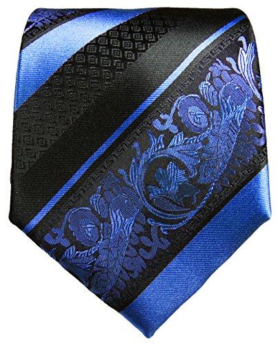 Cravate bleu noir rayée ensemble de cravate 3 Pièces (100% Soie Cravate + Mouchoir + Boutons de manchette)