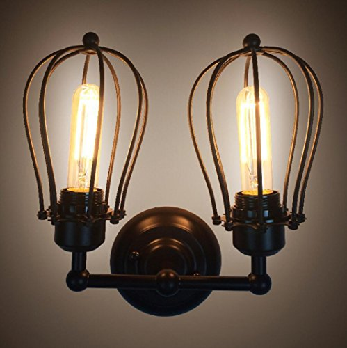 Applique murale Vintage Double Pamplemousse Applique American Country Fer Antique Restaurant Couloir Couloir LED