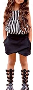 Deloito for 2-7 Years Old Baby Girls  Suits  Kids Baby Girls Outfit Clothes Striped T-Shirt Tops Shorts Pants Set