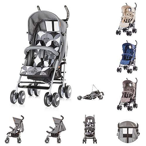 Chipolino Kinderwagen Iris, Buggy, Rückenlehne einstellbar, Getränkehalter, Farbe:grau