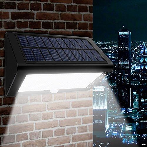 Luce Solare Con Sensore di Movimento, 4000mAh Super Capatica Batteria, Ricarica USB + Pannallo Solare Per Cattivo Tempo, CroLED Lampada Wireless ad Energia Solare Impermeabile IP65 da Esterno 35 LED