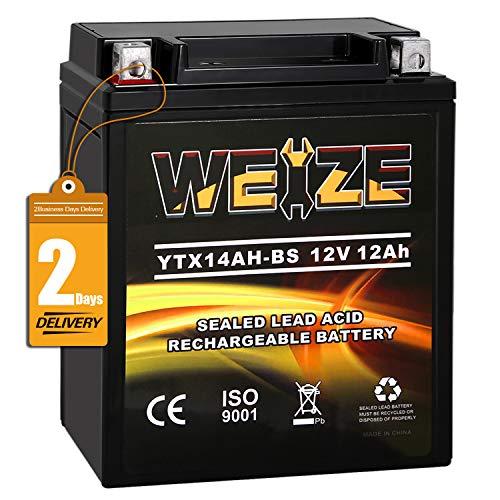 Weize YTX14AH-BS High Performance - Maintenance Free-Sealed AGM ATV Motorcycle Battery For Polaris Sportsman 500 570 Trail Blazer 250 Ranger 400 500 Suzuki King Quad 300 QuadRunner 250