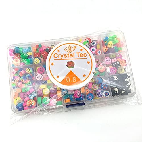 Set di perline Perline artigianali Perle di pony di vetro 370 pezzi Perline miste in ceramica morbida 15 Braccialetto di perline fai da te con griglia con corda elastica Faccina tagliata a fette