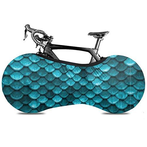 Boho Longhorn vaca portátil cubierta de bicicleta interior anti polvo alta elástica cubierta de rueda de bicicleta protectora Rip Stop neumático carretera mtb bolsa de almacenamiento, Hermosa escamas de sirena, color azul marino, talla única