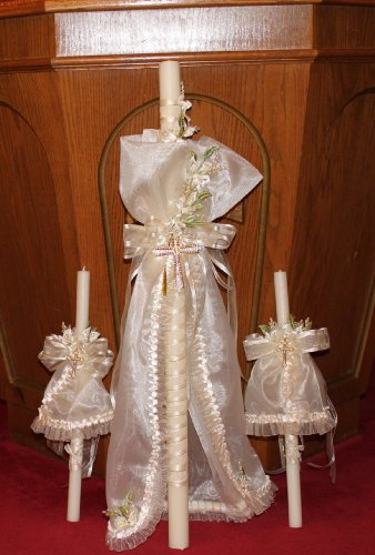 FavorOnline Baptism and Christening Greek Candles - Baptism Lambatha/Lambada Baptism Candle Set of 3