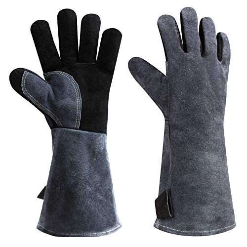 932°F Heat Resistant Leather Welding Gloves Grill BBQ Glove for Tig Welder/Grilling/Barbecue/Oven/Fireplace/Wood Stove - Long Sleeve and Insulated Lining (Black-gray,16-inch)