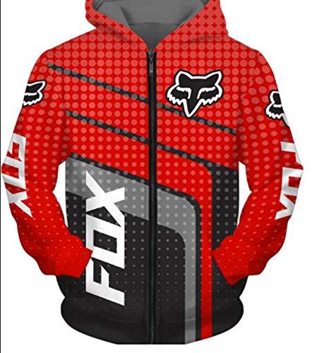 Europeo Y Americano Otoño e Invierno Nuevo Fox Car Logo Traje de Carreras 3D Impresión Digital Solicado con Capucha Cedar suéter,S