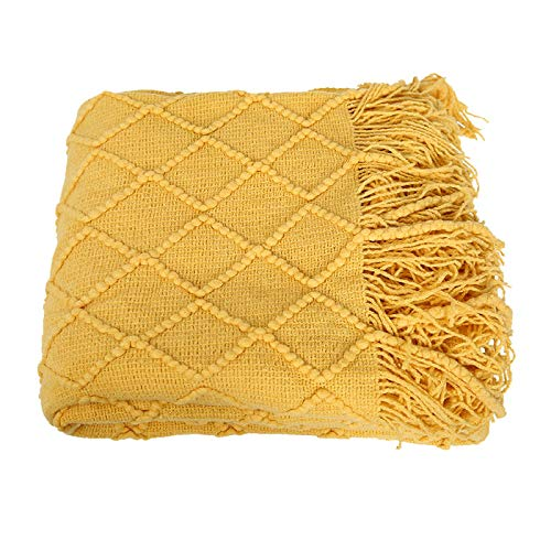 Knitted su-cover blanket, small blanket, winter, thin, single, office, sofa, air-conditioned, small blanket, nap blanket, bedroom, 130 x 170 x 520 g, refined diamond blanket, turmeric