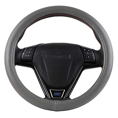 O SHI CAR Grey Genuine Leather 15' Standard Steering Wheel Cover...