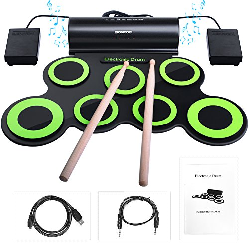 Bonrob Roll Up zestaw perkusyjny do perkusji elektronicznej, zestaw perkusyjny ze słuchawkami i wbudowanymi głośnikami, pedały i pałeczki perkusyjne, do 10 szt. prezent bożonarodzeniowy dla dzieci