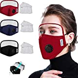 Eye Shield Cotten Face Bandanas, Reusable and Breathable with Eyes Shield Full Protection Anti-Haze Dust, for Adults (vavle-black blue red+6 filters)