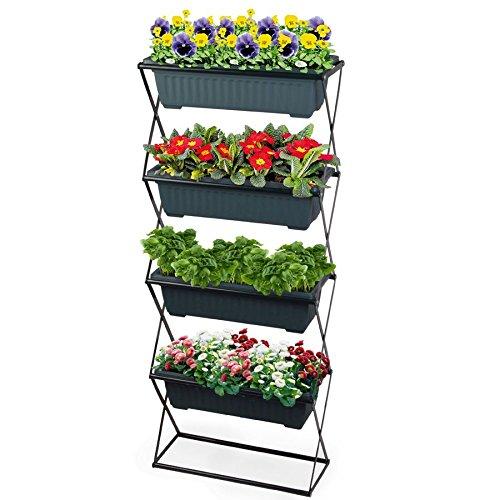Spetebo Blumenkastenhalter inkl. 4 Kästen - Pflanzkasten Halterung für Balkon und Garten - Blumenkasten Ständer