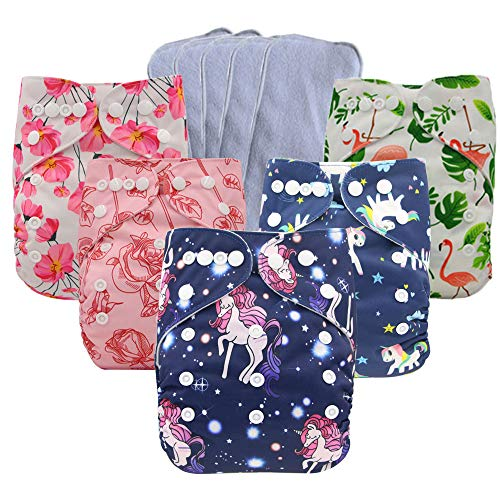 Ohbabyka Baby Reusable Waterproof Bamboo Cloth Diapers Nappies + 5 pics Insert (One Size, Girls)