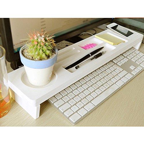 Faderr Schreibtisch Organizer aus Holz für kleine Gegenstände Aufbewahrung von Tastatur, Kommodität-Regal, kreatives Multifunktions-Computer-Schreibtisch-Organizer, weiß, Free Size