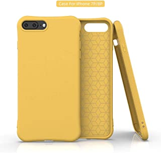 Plus Soft Silicone Matte Pudding Shockproof TPU Jelly Case for Apple iPhone 7 Plus & Apple iPhone 8 Plus - Matte Yellow