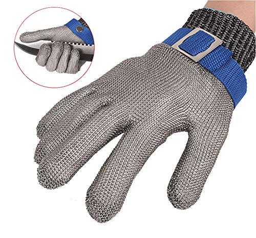 ThreeH Schutzhandschuhe zum Schneiden Hacken Schneiden Fleischverarbeitung Edelstahl Schnittfeste Handschuhe GL09 L(Ein Handschuh)