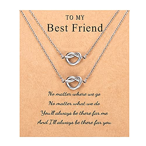 Sincere Best Friend Necklaces for 2 Forever Love Knot Infinity Friendship Necklaces Jewelry Bridesmaid Graduation Gifts for 2 Women Girls Sisters