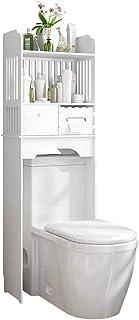 LIN HE SHOP Cuarto de baño en el Inodoro Racks de Almacenamiento estantes, Muebles de baño Soporte gabinetes de almacenaje del ahorrador del Espacio del Organizador del Marco WC No Perforado