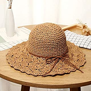 LZS AU Literary Style Foldable Bow Straw Hat Sunhat(Coffee) (Color : Coffee)