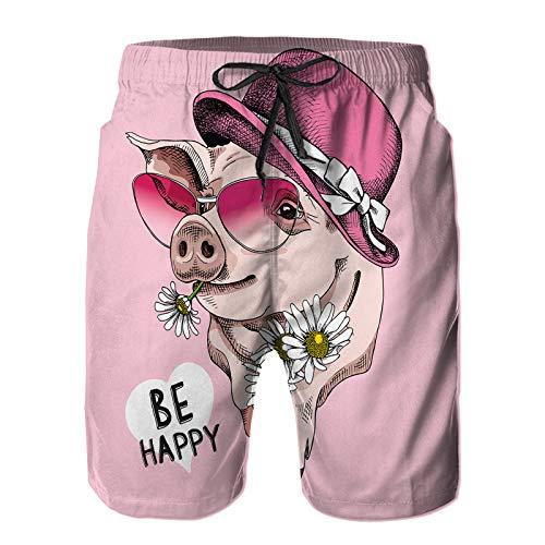 Hombres Playa Bañador Shorts,Cerdo con Sombrero Rosa de Gafas de Sol,Traje de baño con Forro de Malla de Secado rápido L