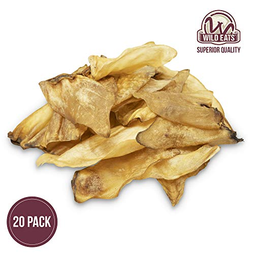 Wild Eats Water Buffalo Natural Ear Dog Chews - 20 Pack (Natural Grain Free Dog Treats, Great Alternative to Pig Ears, Cow Ears & Rawhides for Dogs)