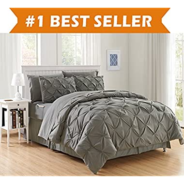 Luxury Best, Softest, Coziest 8-PIECE Bed-in-a-Bag Comforter Set on Amazon! Elegant Comfort - Silky Soft Complete Set Includes Bed Sheet Set with Double Sided Storage Pockets, Full/Queen, Gray